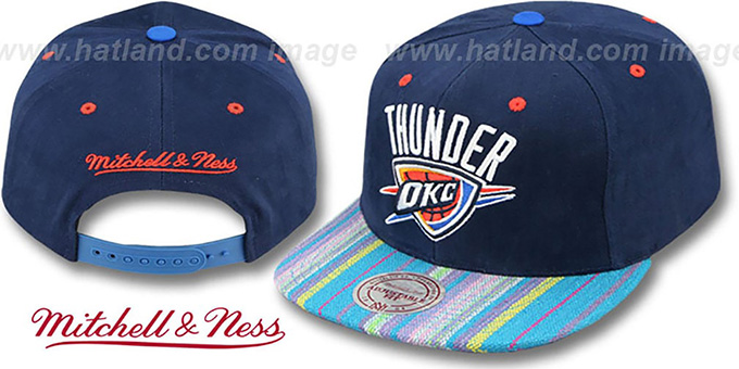 Thunder 'NATIVE-STRIPE SNAPBACK' Navy Hat by Mitchell & Ness : pictured without stickers that these products are shipped with
