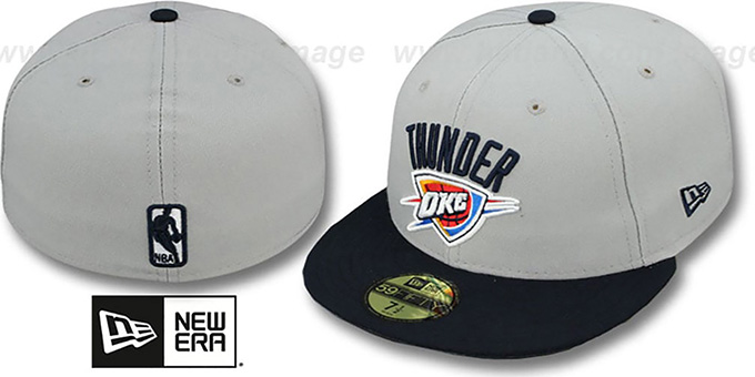 Thunder 'NBA-CHASE' Grey-Navy Fitted Hat by New Era : pictured without stickers that these products are shipped with