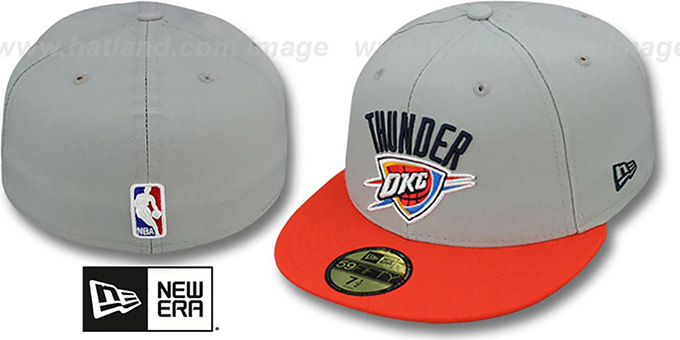 Thunder 'NBA-CHASE' Grey-Orange Fitted Hat by New Era : pictured without stickers that these products are shipped with