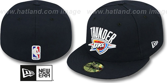 Thunder 'NBA-CHASE' Navy Fitted Hat by New Era : pictured without stickers that these products are shipped with