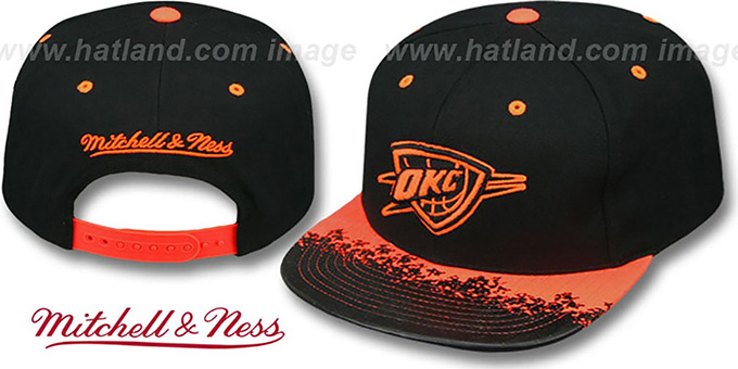 Thunder 'NEON-LAVA SNAPBACK' Black-Orange Hat by Mitchell and Ness : pictured without stickers that these products are shipped with