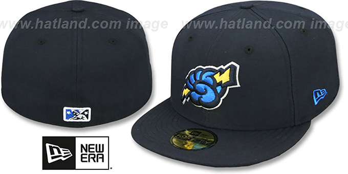 Thunder 'PERFORMANCE ALT' Navy Fitted Hat by New Era : pictured without stickers that these products are shipped with