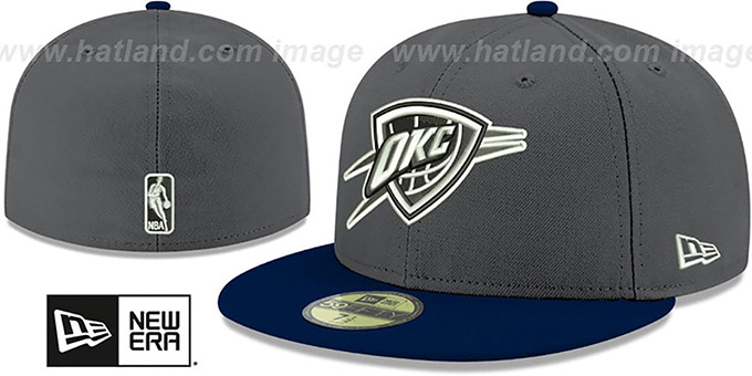 Thunder 'SHADER MELT-2' Grey-Navy Fitted Hat by New Era : pictured without stickers that these products are shipped with