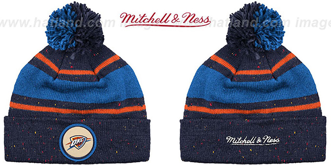 Thunder 'SPECKLED' Navy-Royal Knit Beanie by Mitchell and Ness : pictured without stickers that these products are shipped with
