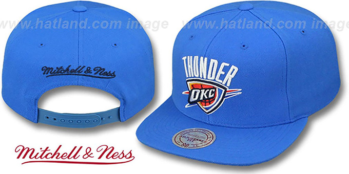 Thunder 'TEAM-BASIC SNAPBACK' Blue Hat by Mitchell and Ness : pictured without stickers that these products are shipped with