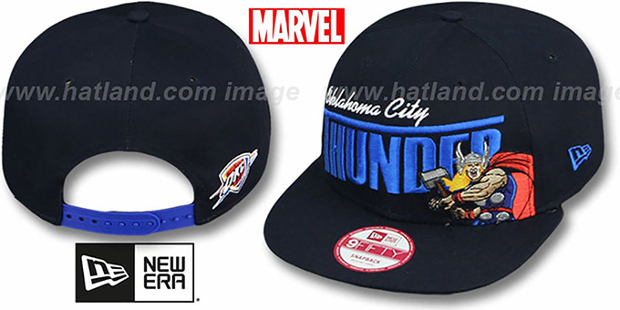 Thunder 'TEAM-HERO SNAPBACK' Navy Hat by New Era : pictured without stickers that these products are shipped with
