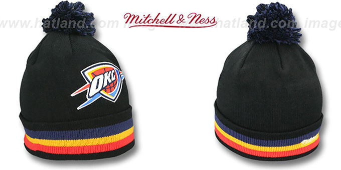 Thunder 'XL-LOGO BEANIE' Black by Mitchell and Ness : pictured without stickers that these products are shipped with