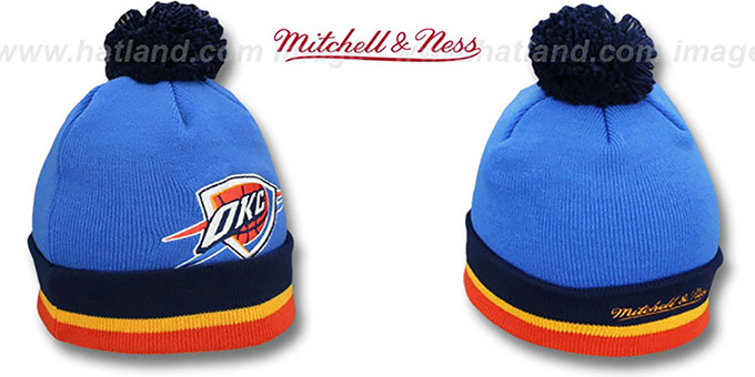 Thunder 'XL-LOGO BEANIE' Blue by Mitchell and Ness : pictured without stickers that these products are shipped with