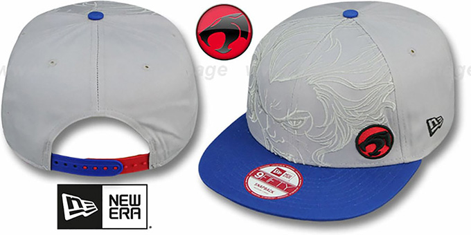 Thundercats 'OVERFACE SNAPBACK' Grey-Royal Hat by New Era : pictured without stickers that these products are shipped with