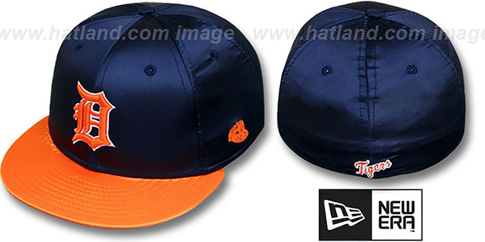 Tigers '2T SATIN CLASSIC' Navy-Orange Fitted Hat by New Era : pictured without stickers that these products are shipped with