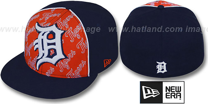 Tigers 'ANGLEBAR' Navy-Orange Fitted Hat by New Era : pictured without stickers that these products are shipped with