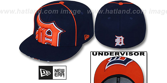 Tigers 'BIG-UNDER' Navy Fitted Hat by New Era : pictured without stickers that these products are shipped with