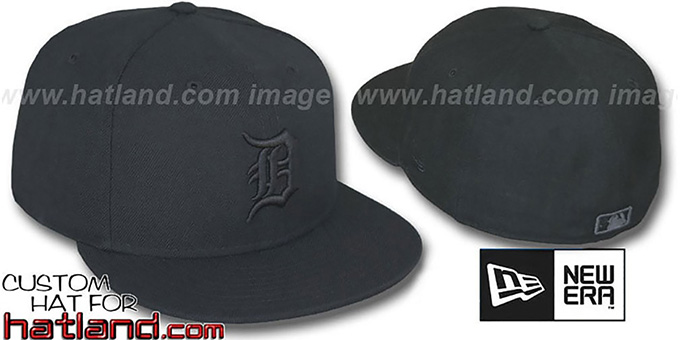 Tigers 'BLACKOUT' Fitted Hat by New Era : pictured without stickers that these products are shipped with