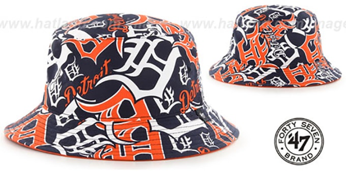 Tigers 'BRAVADO BUCKET' Hat by Twins 47 Brand : pictured without stickers that these products are shipped with