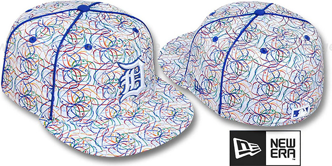 Tigers 'BRUSHED-ART' White-Multi Fitted Hat by New Era : pictured without stickers that these products are shipped with