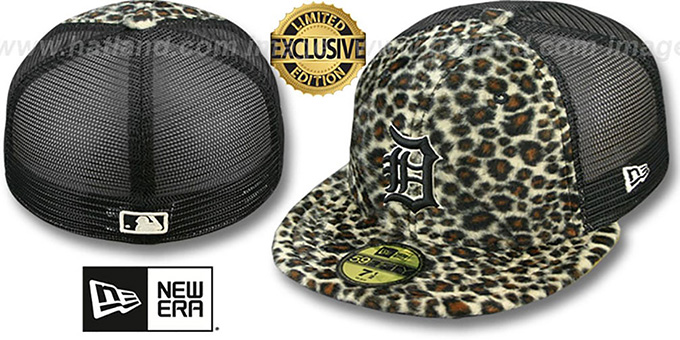 Tigers CHEETAH 'ANIMAL-FUR MESH-BACK' Fitted Hat by New Era : pictured without stickers that these products are shipped with