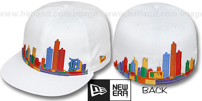 Tigers 'CITY DEEP-SKYLINE' White-Multi Fitted Hat by New Era : pictured without stickers that these products are shipped with