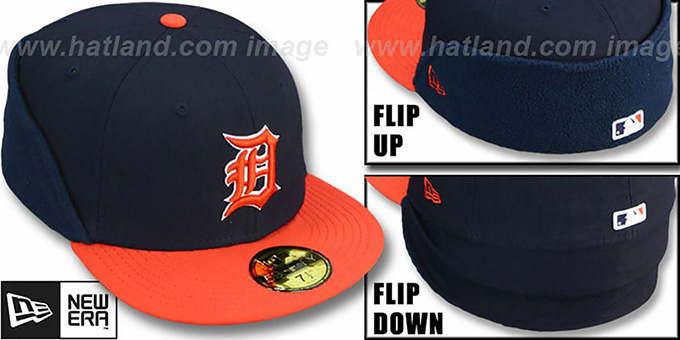 Tigers 'CLEAN CUT FLIP-DOWN' Navy-Orange Fitted Hat by New Era : pictured without stickers that these products are shipped with