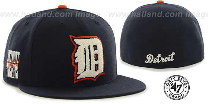 baffc112 Detroit Tigers COOP CATERPILLAR Navy Fitted Hat by 47 Brand