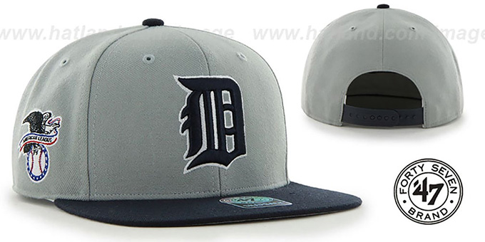 Tigers COOP 'SURE-SHOT SNAPBACK' Grey-Navy Hat by Twins 47 Brand : pictured without stickers that these products are shipped with