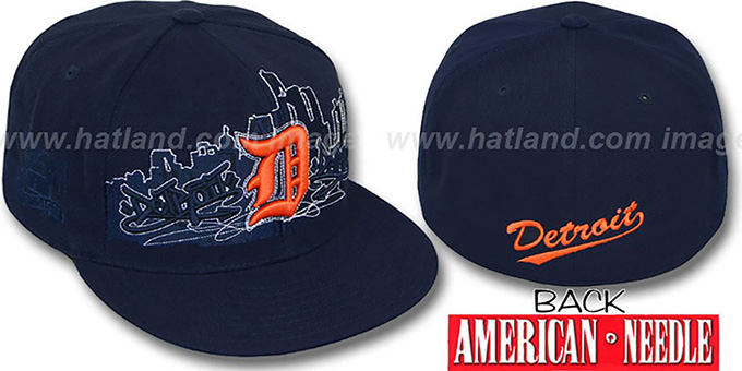 Tigers 'COOPERSTOWN SKYLINE' Navy Fitted Hat by American Needle : pictured without stickers that these products are shipped with