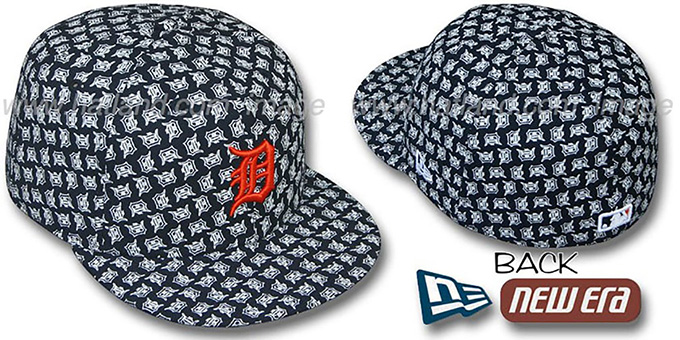 Tigers D 'ALL-OVER FLOCKING' Navy Fitted Hat by New Era : pictured without stickers that these products are shipped with