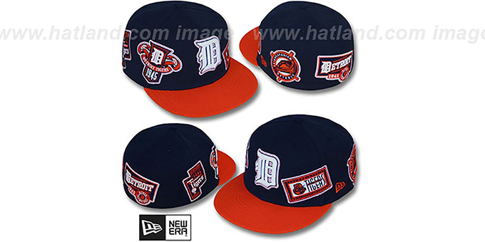 Tigers 'DEEZ PATCHES' Navy-Orange Fitted Hat by New Era : pictured without stickers that these products are shipped with