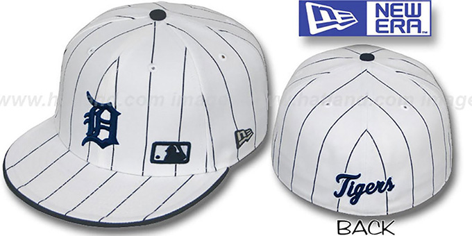 Tigers 'FABULOUS' White-Navy Fitted Hat by New Era : pictured without stickers that these products are shipped with
