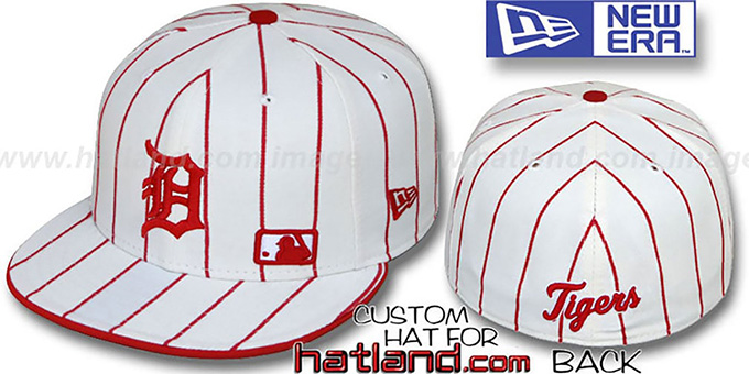 Tigers 'FABULOUS' White-Red Fitted Hat by New Era : pictured without stickers that these products are shipped with