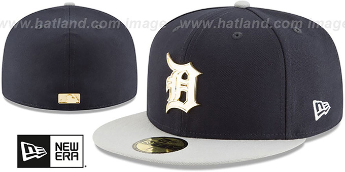 2e62838d Detroit Tigers GOLDEN-BADGE Navy-Grey Fitted Hat by New Era