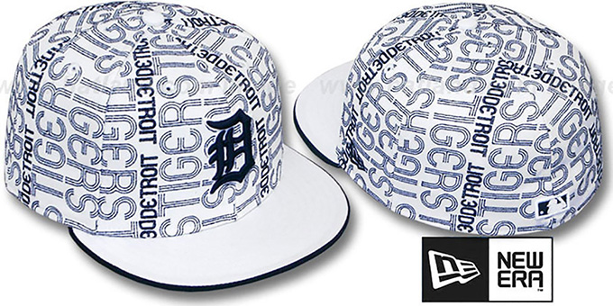 Tigers 'GOOD TIMES ALL-OVER' White-Navy Fitted Hat by New Era : pictured without stickers that these products are shipped with