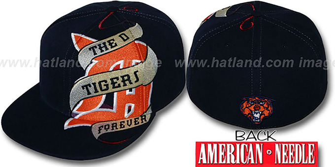 Tigers 'INKED' Navy Fitted Hat by American Needle : pictured without stickers that these products are shipped with