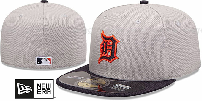 12368898 Tigers 'MLB DIAMOND ERA' 59FIFTY Grey-Navy BP Hat by New Era