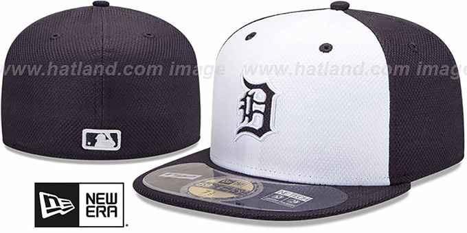 Tigers 'MLB DIAMOND ERA' 59FIFTY White-Navy BP Hat by New Era : pictured without stickers that these products are shipped with