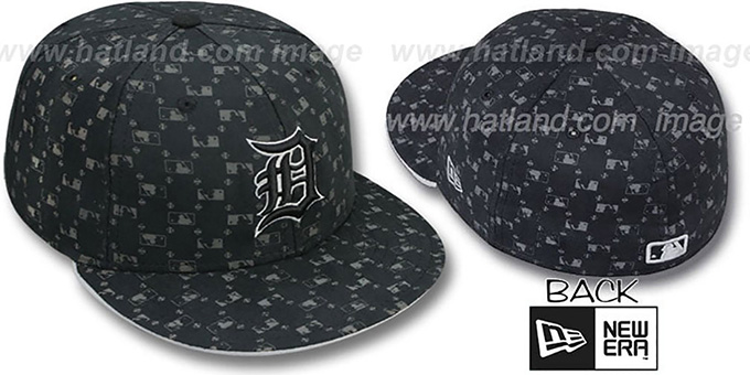 Tigers 'MLB FLOCKING' Black Fitted Hat by New Era : pictured without stickers that these products are shipped with