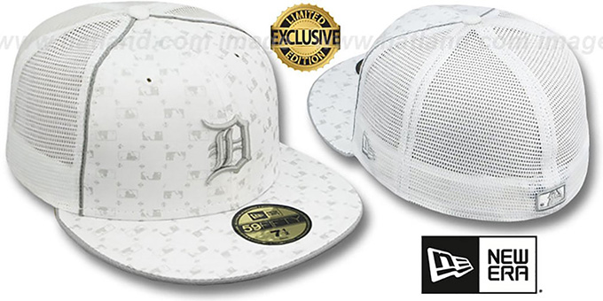 Tigers 'MLB FLOCKING' MESH-BACK White Fitted Hat by New Era : pictured without stickers that these products are shipped with