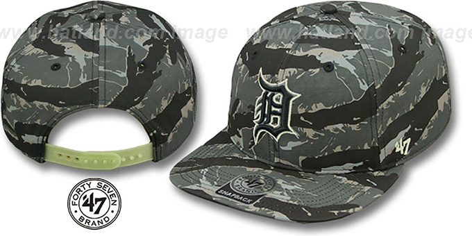 Tigers 'NIGHT-VISION SNAPBACK' Adjustable Hat by Twins 47 Brand : pictured without stickers that these products are shipped with