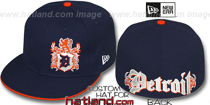 Tigers 'OLD ENGLISH SOUTHPAW' Navy-Orange Fitted Hat by New Era : pictured without stickers that these products are shipped with