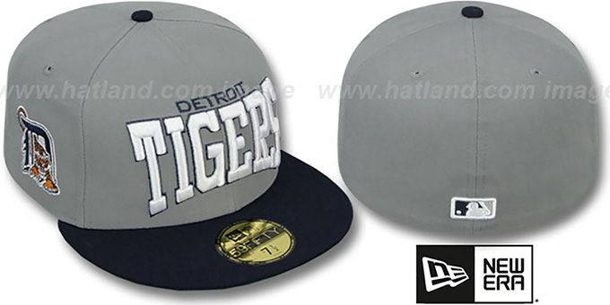 Tigers 'PRO-ARCH' Grey-Navy Fitted Hat by New Era : pictured without stickers that these products are shipped with