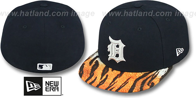 Tigers 'REAL TIGER VIZA-PRINT' Navy Fitted Hat by New Era : pictured without stickers that these products are shipped with