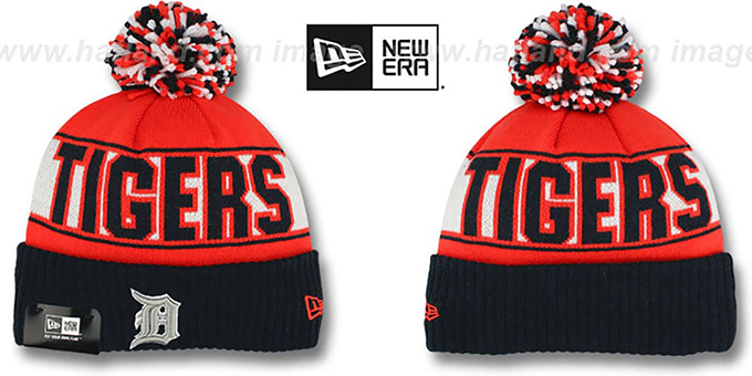 Tigers 'REP-UR-TEAM' Knit Beanie Hat by New Era : pictured without stickers that these products are shipped with