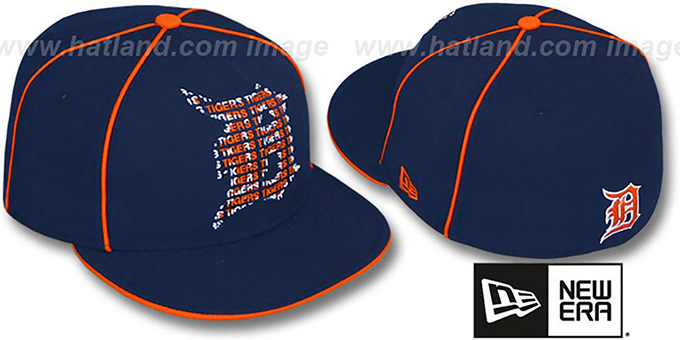Tigers 'REPEAT BIG-ONE' Navy Fitted Hat by New Era : pictured without stickers that these products are shipped with