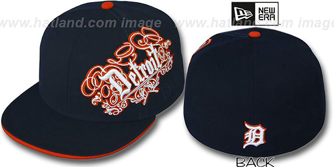 Tigers 'ROYALE OLD ENGLISH' Navy Fitted Hat by New Era : pictured without stickers that these products are shipped with