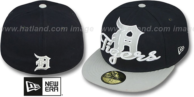Tigers 'SCRIPT-PUNCH' Navy-Grey Fitted Hat by New Era : pictured without stickers that these products are shipped with