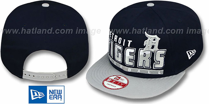 Tigers 'SLICE-N-DICE SNAPBACK' Navy-Grey Hat by New Era : pictured without stickers that these products are shipped with