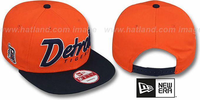 Tigers 'SNAP-IT-BACK SNAPBACK' Orange-Navy Hat by New Era : pictured without stickers that these products are shipped with