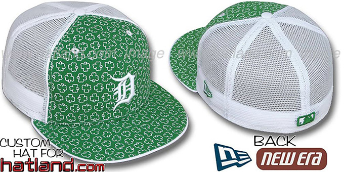 Tigers 'ST PATS FLOCKING MESH-BACK' Kelly-White Fitted Hat by New Era