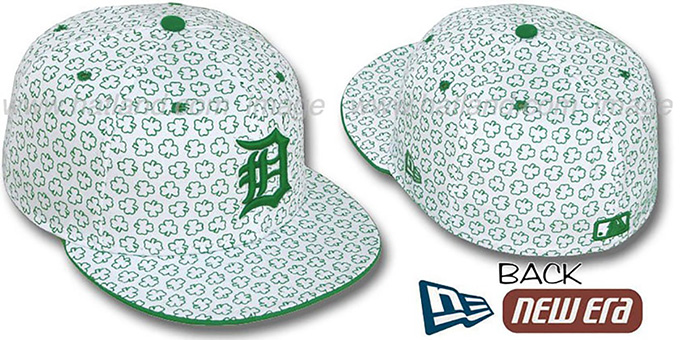 Tigers 'ST PATS FLOCKING' White Fitted Hat by New Era : pictured without stickers that these products are shipped with