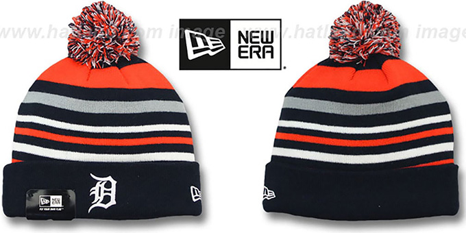 Tigers 'STRIPEOUT' Knit Beanie Hat by New Era : pictured without stickers that these products are shipped with