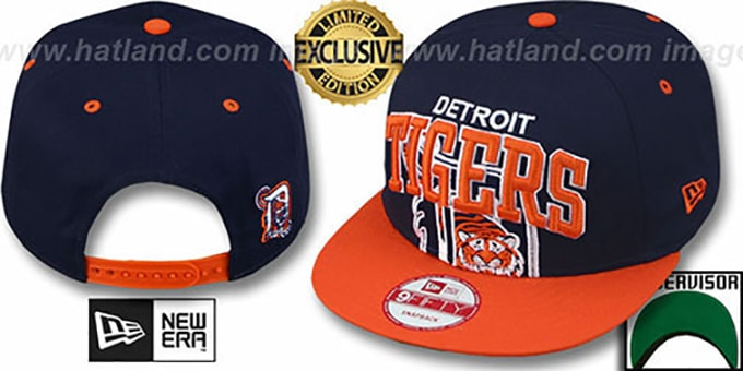 Tigers 'SUPER-LOGO ARCH SNAPBACK' Navy-Orange Hat by New Era : pictured without stickers that these products are shipped with